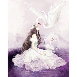 piccolo schermo cinese Sconti Swan Fairy 5d Fai Da Te Pittura Diamante Pieno Punto Croce Kit Diamante Ricamo Moda Home Decor Angelo Mosaico Immagine 20X25 CM Regalo