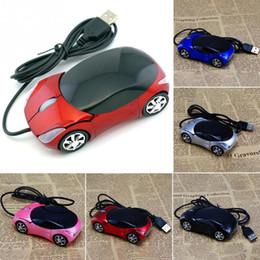 marca de escritorio Rebajas 1600 ppp Mini deportivo con forma de coche Ratón óptico con cable USB innovador 2 faros de ratón para computadora de escritorio portátil USB carreras Ratones A estrenar