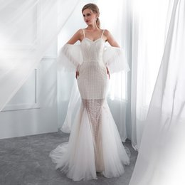 Wholesale miss france - Sexy Ivory Lace Mermaid Wedding Dresses With Detachable Sleeves 2018 Backless See Through Skirt France Lace Boho Bridal Gowns For Holiday