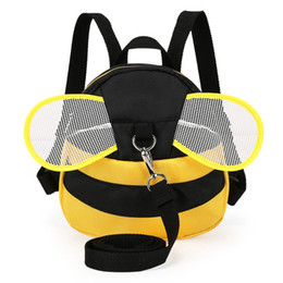 Wholesale Anti Lost Belt - HOT Kids Anti-lost Mini Plush Backpacks Baby Toddler Cartoon Bee Animal Backpack With Long Belt Shoulder Bag Safety Harness P15
