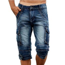 Wholesale cargo shorts for men - Idopy Casual Men 'S Cargo Denim Shorts Retro Vintage Washed Slim Fit Jeans Shorts Mulit -Pockets Military Biker Shorts For Men