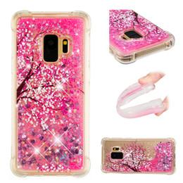 2019 étui cerise pour samsung Coque pour téléphone avec motif de quicksand liquide et motif de fleurs de cerisier pour Samsung Galaxy S9 S8 Plus S7 S6 Edge S5 promotion étui cerise pour samsung