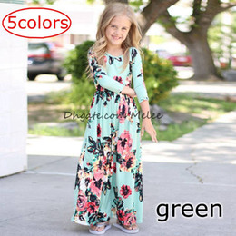 Wholesale Summer Flower Dresses Children Beach - INS Spring Autumn Girls full flower print Dresses Floral Long Sleeve Beach Dress Cotton Ankle Length Princess Dress Children Clothing 1-7Y