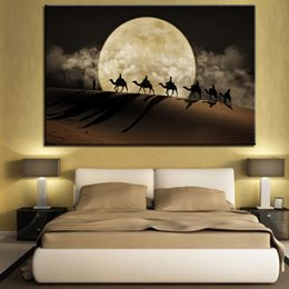 Wholesale canvas full moon - Canvas Posters Wall Art 1 Piece Pcs Camel Team Paintings HD Prints Full Moon In Desert Pictures Home Decor Living Room Framework