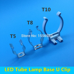 Wholesale Led Tube Lights Base - 20 PCS Tube Lamp T5 T8 T10 Wall Clip For LED Fluorescent Light Base U Clips Connector Socket Bracket Fitting Holder