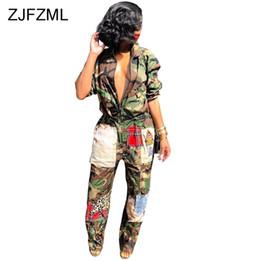 macacão de vinil Desconto Camuflagem Impresso Casual Overall Para As Mulheres Turn-Down Collar Manga Longa Harajuku Jumpsuit Streetwear Frente Zipper Partido Romper