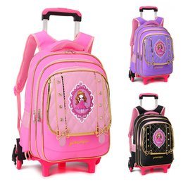 7280809ffa74 Removable Schoolbag Backpack For Girls With Wheels Trolley School Bags  Wheel Kid Luggage Wheeled Travel Drag pull outdoor Book Bag