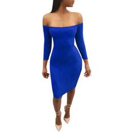 Wholesale Knee Hight Dresses - FEITONG Women Strapless Bandage Hight Waist Slim Sexy Party Dress vestidos femininos 2018 Cotton Off Shoulder women dress#1B