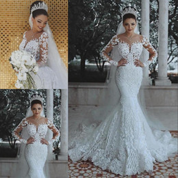 vestido de noiva de sereia de lantejoulas de strass Desconto Encantador Sereia Projeto Vestido De Casamento Da Menina Cor Branco Com Decote Em V Longo Poeta Manga Trem Da Varredura Apliques De Vestido De Casamento Lace Up Design de Volta