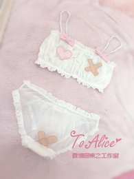 Wholesale Pink Transparent Panties - Cute & Sexy Shimapan Kawaii Women's Transparent Band-aid Cover 2pcs Bra & Panties Set Lolita Camisoles Set Color White Pink