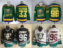 Wholesale Movie Apparel - Charlie Conway Men's Mighty Ducks Movie Jersey #96 Charlie Conway 33 Greg Goldberg Hockey Jersey white blue Athletic Outdoor Apparel S-3XL