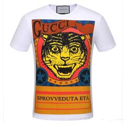 Wholesale Women Shirt Trend - 2018 New Fashion Brand T-Shirts Tiger Printed Short Sleeve T Shirt Men Trend Women Casual T-Shirt Cotton White Black