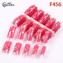 Padrão de unhas acrílicas on-line-TKGOES 50pcs Acrylic Pre Designed Nail Tips Clear love heart mixed patterns Half fake nail tips art F456-50