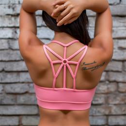 collants d'entraînement roses Promotion Strappy Back Skinny Soutien-gorge sport Débardeurs Femmes Soutien-gorge rembourré rose Sports Top Workout Gym Collants Activewear Dropship