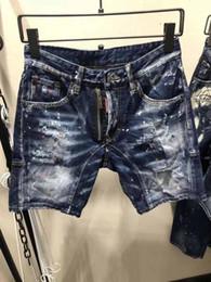 Wholesale canvas pants - Brand Luxury D2 Men's short Jeans denim shorts pants For man Hole beggar Pocket Slim zipper Jeans badge Clothes breathable Blue Biker