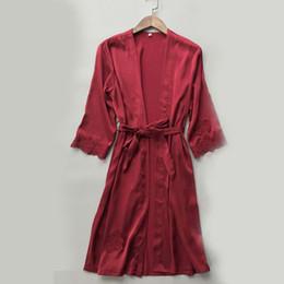 кружевные с длинными рукавами ночные рубашки Скидка Sexy Women Lace Silk Night Robe Nightwear Lace Up Robes Dress Gown Kimono Sleepwear Long Sleeve Night Wear Female Nightgown A4