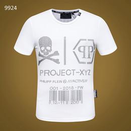 Camicia colpita online-2018 Stampato Phillip Plain rock T Shirt Mens cranio rock o busto T-shirt Stampa Casual Tshirt O collo Hip Hop manica corta in cotone Top