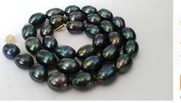 tahitian schwarze perlen barock Rabatt Kostenloser Versand atemberaubende 12-13mm barocken Tahiti schwarz grün rot Perlenkette 18