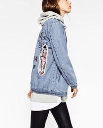 Mujeres Jepanese estilo parche bordado denim bomber jacket coat bolsillos de manga larga casual outwear casual abrigos damas punk outwear desde fabricantes