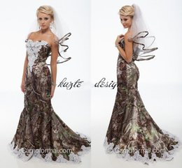 Wholesale Camouflage Dresses Plus Size - 2018 Elegant Mermaid Camo Wedding Dresses Sweetheart Appliques Satin Backless Country Wedding Dresses Camouflage Cowgirls Bridal Gowns