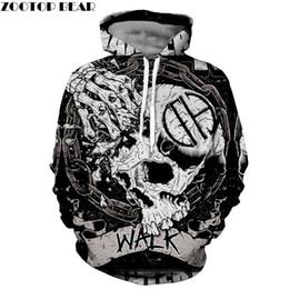 Skelett 3D Hoodie Männer Schädel Hoody Groot Sweatshirt Halloween Trainingsanzug Streatwear Mantel Pullover Pantera Drop Ship von Fabrikanten