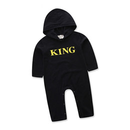 Wholesale King Baby Wholesale - Baby Boy Romper Long Short Sleeve Cotton Cool King Letter Printed With Hat Infant Jumpsuit Clothing