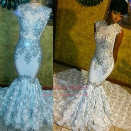 Wholesale beaded lace top - Beaded Sequins Lace Appliques 2018 Prom Dresses Mermaid Flowers Sleeveless Sparkle Evening Gowns See Through Top Sexy Party Wears BA8178