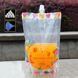 soporte colorido Rebajas 100 Unids Bonita Flor Colorido de pie Plástico Bebida Empaquetado Bolsa Bolsa para Bebidas Líquido Jugo Leche Café 380 ml
