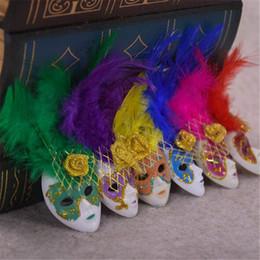 Пакетные магниты холодильника онлайн-Популярные мини Венеция перо Маска холодильник Магнит Италия сувениры украшения домашнего декора подарочный пакет 6 цветов 12 шт. / лот