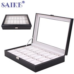 Wholesale Dress Sellers - SAIKE Watch Storage Box Black PU Leather Watch Collection Case 24 Grids Organizer Box Holder Jewelry Display for Sellers