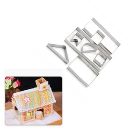 Wholesale Cute Fondant Cookies - Wholesale-7Pcs set Cute 3D Cookie Cutter Molds Gingerbread House Christmas Stainess Steel Fondant Bake Cake Biscuit Mould DIY Baking Tools
