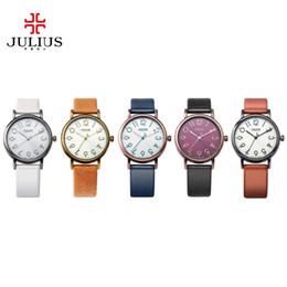 Wholesale Women S Leather Dresses - s Watches Quartz Wristwatches 2018 JULIUS Quartz Brand Lady Watches Women Luxury Antique Square Leather Dress Wrist Women watch Relogio F...