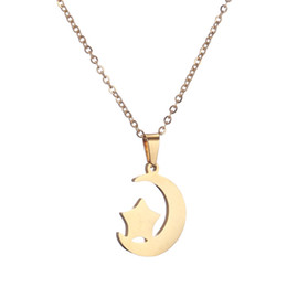simple necklaces for indian women Coupons - stainless steel Moon Star Chain Necklace Fashion jewelry silver gold color long pendant simple necklace for women girl bijoux gift