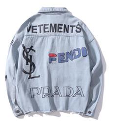 giacche stampate in denim per uomini Sconti Vendita calda Autunno Amante Denim Casual Nero Giacca Blu Tops Lettere degli uomini Stampa Vecchia Streetwear Cowboy Jacket Taglie M-2XL