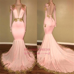 Wholesale Long Nude Back Evening Gowns - 2018 Blush Pink Long Sleeves Prom Dresses Mermaid Deep V Neck Gold Applique Sweep Train Evening Gowns Prom Formal Dresses vestidos de fiesta