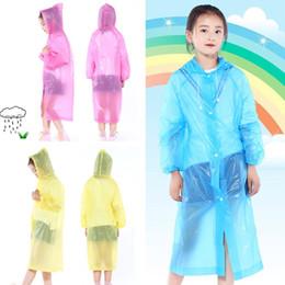 Wholesale Boys Hooded Raincoat - Kids Hooded Transparent Raincoats Rain Coat Poncho Raincoat Cover Long Girl Boy Rainwear 3 Colors T2I353
