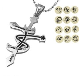 Wholesale Men Gold Pendent - 12 Zodiac Signs Pendent Necklaces For Men & Women Stainless Steel Unisex Special Astrology Constellations Birthday Gift Jewelry AA617