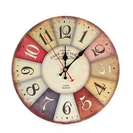 Wholesale Clocks European Vintage - 30cm Retro European Circular Wooden Clock Modern Design Vintage Rustic Shabby Chic Office Cafe Decoration Books On Art