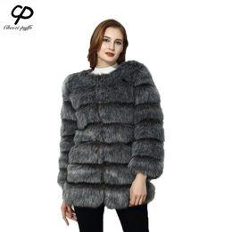 Wholesale Winter Furry Jacket - CP Brand 2017 Long Fur Coat Winter Women Faux Fox Fur Coats Furry Luxury Woman Fake Jacket Plus Size Faux Coat Jacket