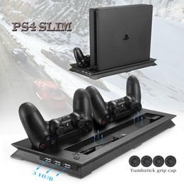 ps4 usb hub Скидка PS4 тонкий вертикальный стенд вентилятор охлаждения кулер двойной USB зарядное устройство зарядки док-станция с 3 дополнительный концентратор для Playstation 4 PS4 Slim + 4 шапки