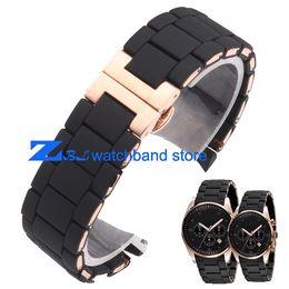 orologi in gel di gomma Sconti Il cinturino in caucciù siliconico Oro rosa in nero gel di silice AR per 5905 uomo 23mm cinturino cinturino per orologio donna 5906 20mm