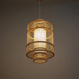 iluminação moderna de cabos Desconto Design criativo Mão De Bambu Pingente Lâmpadas Modernas Lanterna luzes pingente Engenharia Deco Iluminação Suspensão De Madeira G087