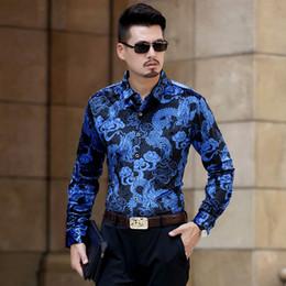Canada Mode Hommes or Soie Velours Chemises Hommes Casual Manches Longues Imprimé Sexy Slim Fit Velours Chemises Doux Confortable de haute qualité supplier silk sexy shirt Offre