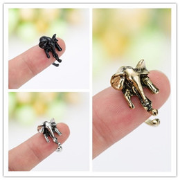 Wholesale invisible elephant - Hot Korean Lovely Elephant Finger Ring Adjustable Vintage Rings For Party Women Men Fashion Jewelry Gift