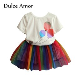 Mini velos online-Dulce Amor Ropa para niñas 2PCS Ropa para niños Set Camiseta de manga corta de verano + Colorido encaje Mini falda Net Veil Traje de los niños