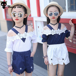 Wholesale Material Flowers For Dresses - Girls dress Summer fashion soft fabric material 100% cotton child cloth Solid with flowers sweet and lovely short sleeve suit for girls