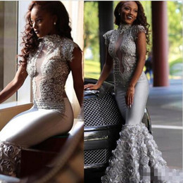 Wholesale Ribbon Flower Rose Appliques - Sexy African Nigerian Plus Size Formal Evening Formal Dresses 2018 Modest Silver Lace 3D Rose Floral Mermaid High Neck Evening Gowns