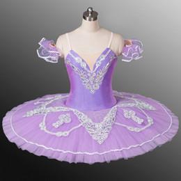 Traje de cascanueces online-Ballet clásico adulta púrpura Ballet Profesional Tutús blanco del cordón vestido de los trajes de la etapa de la crepe niñas cascanueces Falda