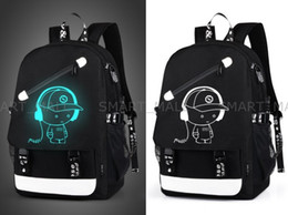 Wholesale Animal Fasion - Senkey style Men Backpack Fashion with External USB Charging charger function Laptop Mochila Cartoon Anime Luminous School Noctilucent Bags