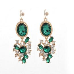 Новые серьги драгоценного камня онлайн-2018 New Fashion Colorful Flower Big  Drop Earring Pendant Crystal Gem Statement Earrings Jewelry Wholesale